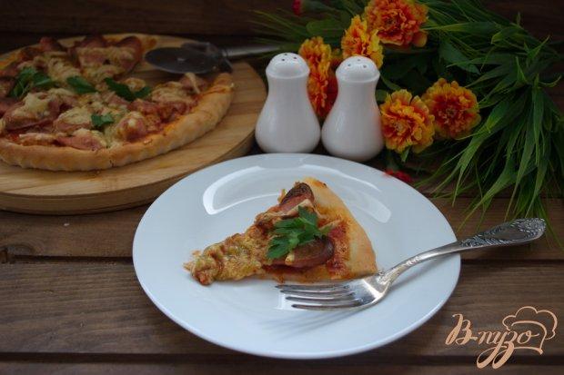 Домашняя быстрая пицца с сосисками и лечо
