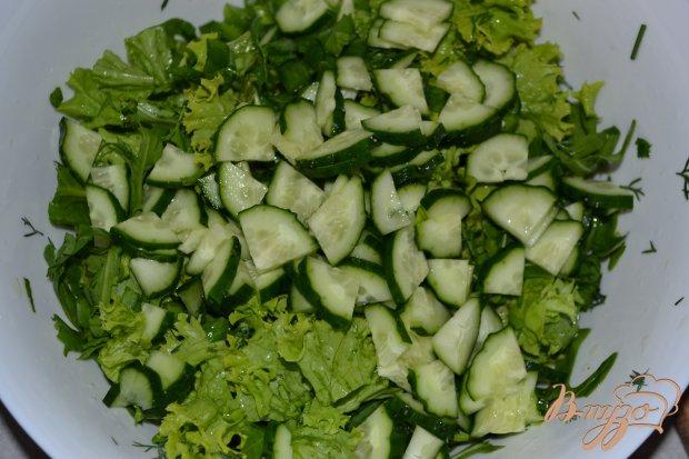 Салат из рукколы, редиса и листьев салата