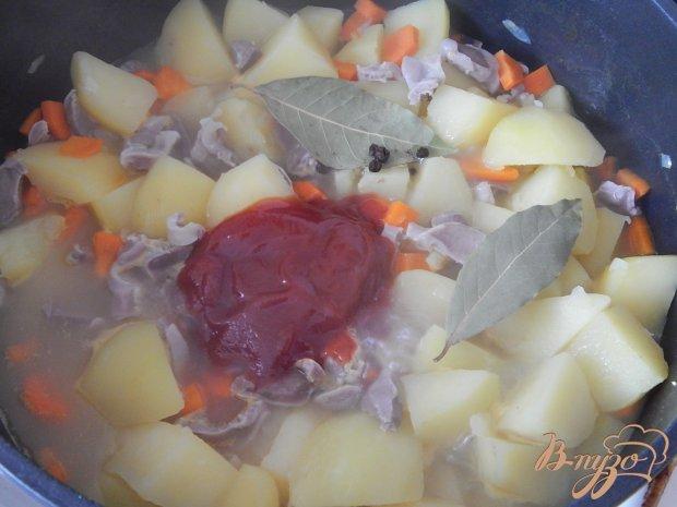 Куриные желудочки с картофелем
