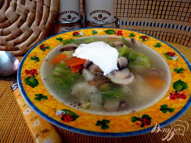 фото рецепта: Суп овощной со свежей капустой и грибами