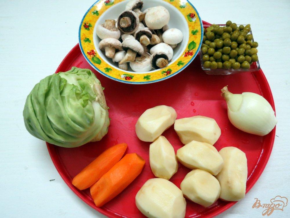 Фото приготовление рецепта: Суп овощной со свежей капустой и грибами шаг №1