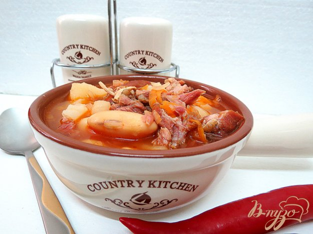фото рецепта: Суп из фасоли с копчёностями