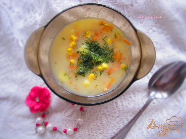 фото рецепта: Суп на молоке с кукурузой