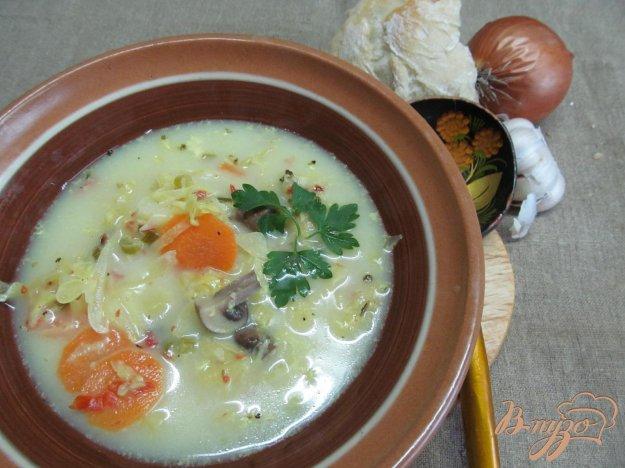 фото рецепта: Легкий суп с капустой и грибами