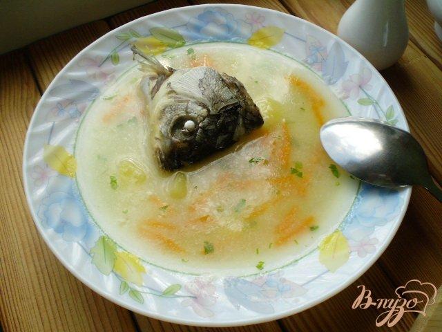 Фото приготовление рецепта: Суп с голов рыбных с манкой шаг №9