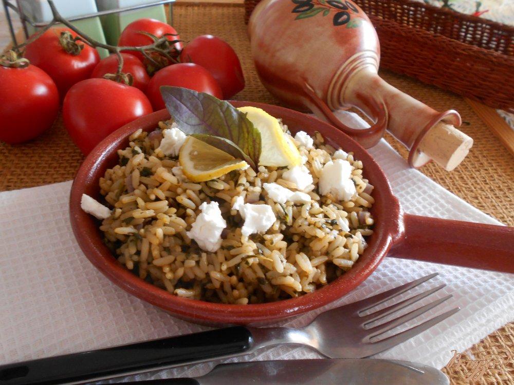 Фото приготовление рецепта: Спанакоризо- рис со шпинатом по-гречески шаг №9