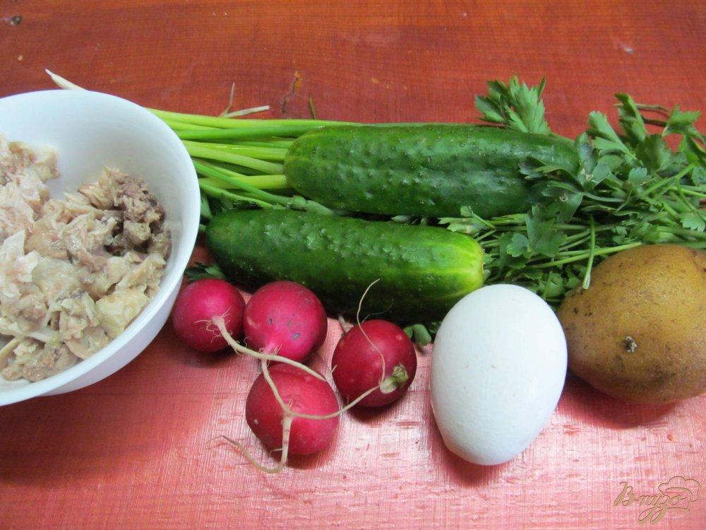 Фото приготовление рецепта: Окрошка на кефире шаг №1