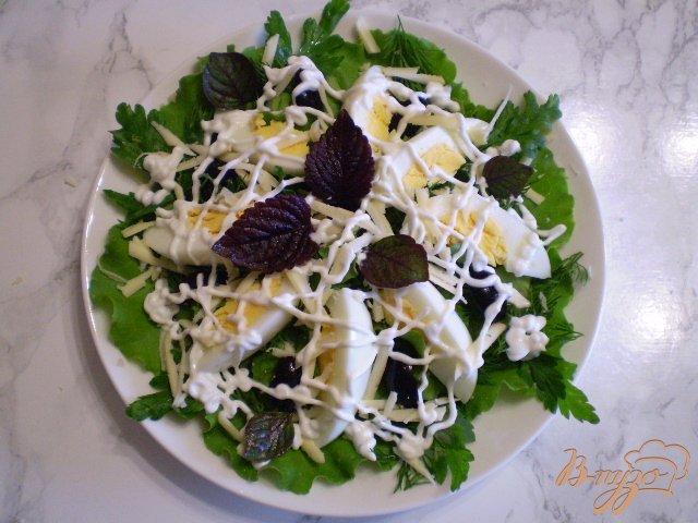 Фото приготовление рецепта: Салат с яйцом, листьями салата, маслинами и базиликом шаг №7