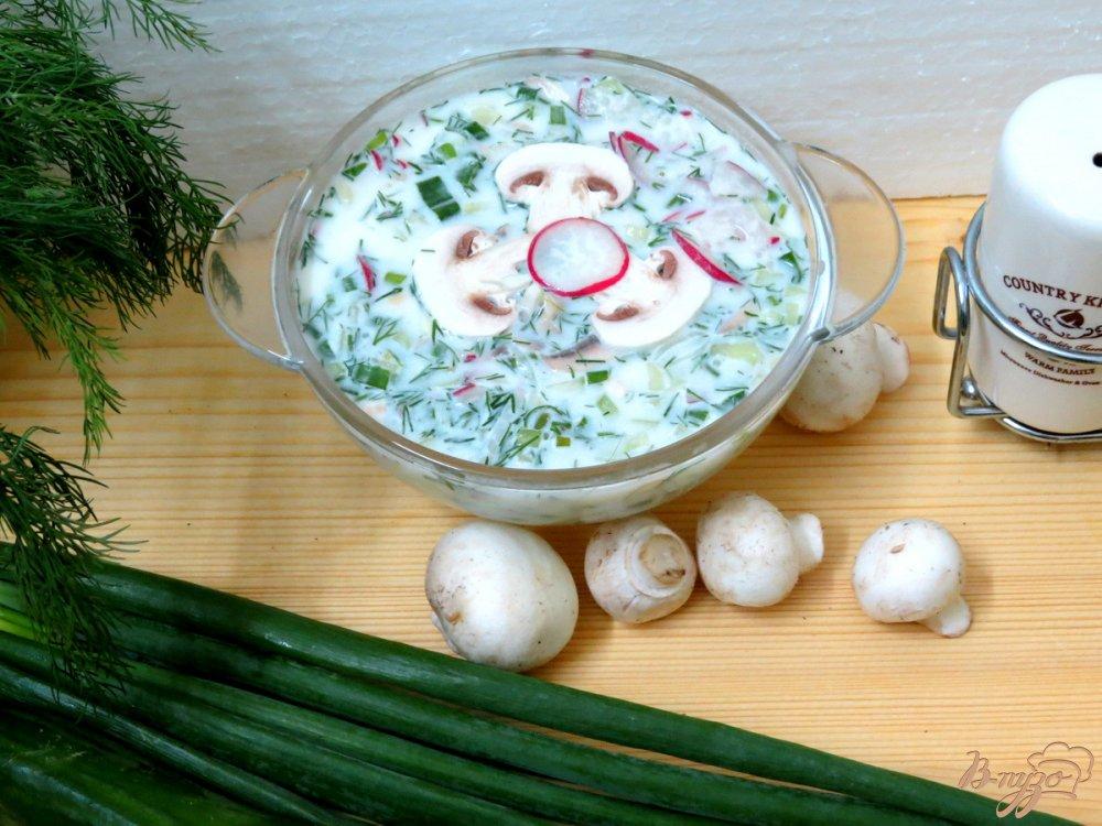 Фото приготовление рецепта: Окрошка вегетарианская шаг №9