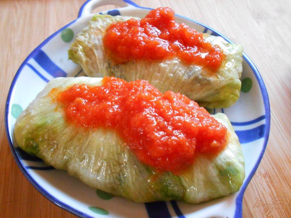Фото приготовление рецепта: Голубцы из качанного салата шаг №8