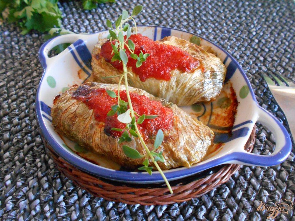 Фото приготовление рецепта: Голубцы из качанного салата шаг №9