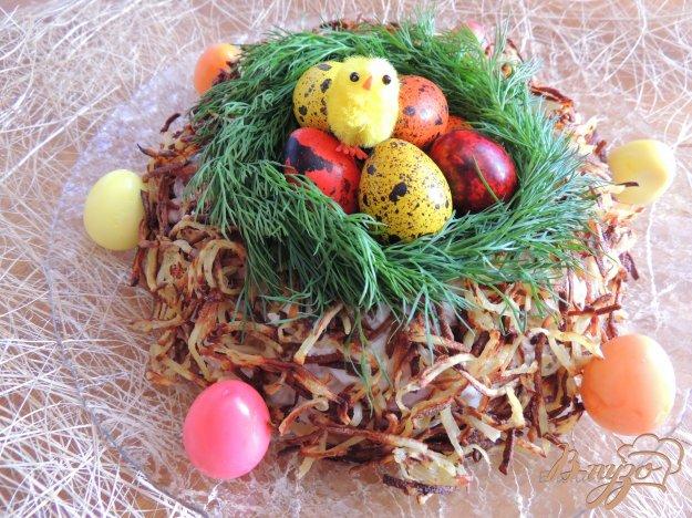 Салат Гніздо з куркою і грибами. Як приготувати з фото