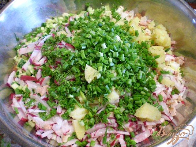 Фото приготовление рецепта: Окрошка на кефире с мясом и колбасой шаг №11