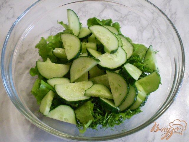 Фото приготовление рецепта: Салат из сырых огурцов и шампиньонов шаг №3