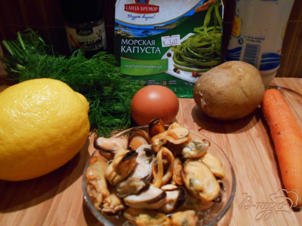 Рецепт Салат из морской капусты с мидиями