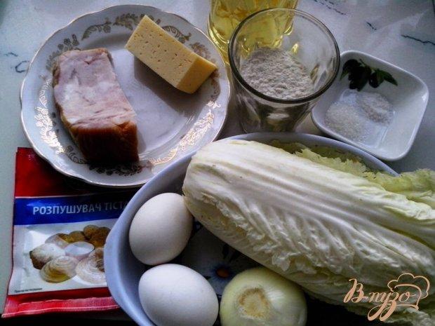 Рецепт Пирог из пекинской капусты с ветчиной и сыром