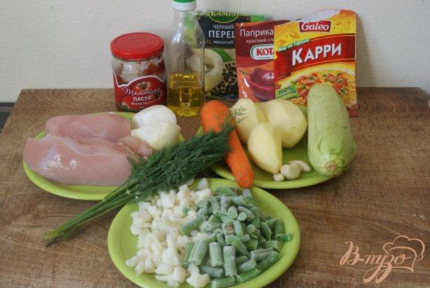 Рецепт Курица с овощами в томатно-сметанном соусе
