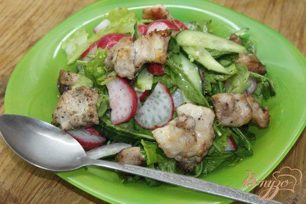 Салат с курицы и рукколы с овощами