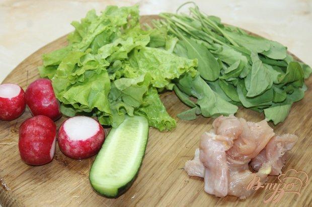 Рецепт Салат с курицы и рукколы с овощами