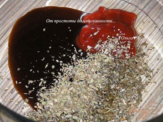 Шампиньоны, запеченные в соево-томатном соусе с орегано