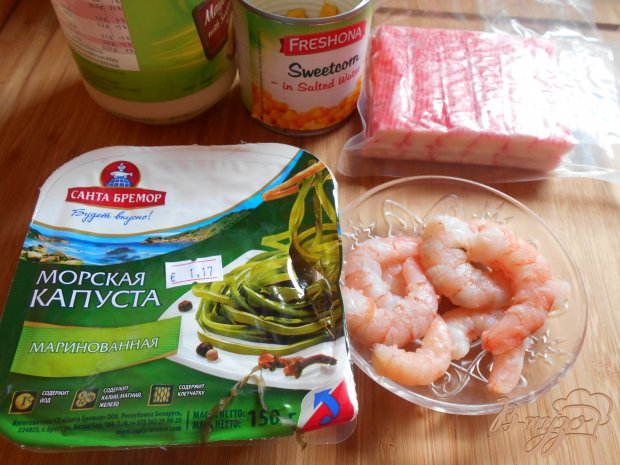 Рецепт Салат с морской капустой, креветками и крабовыми палочками