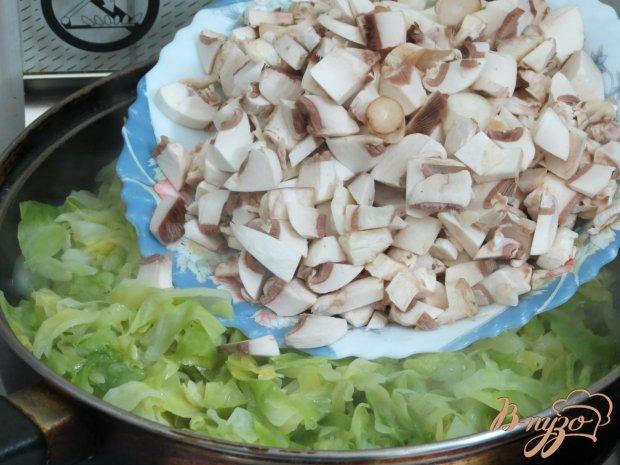 Блинчики с молодой капустой и грибами