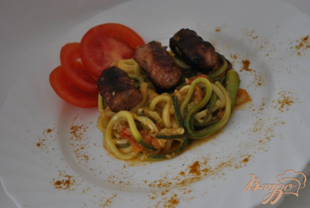 Цуккини аль-данте с колбасками