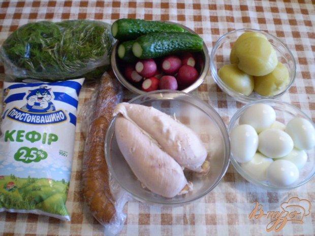 Рецепт Окрошка на кефире с мясом и колбасой