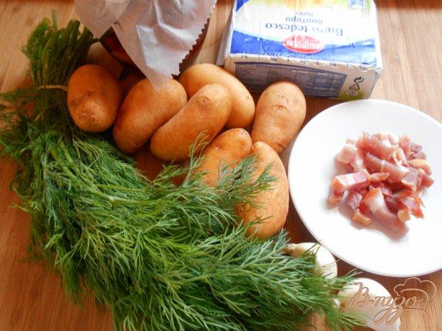 Молодой картофель с беконом и вялеными помидорами