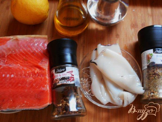 Рецепт Шашлыки с кальмаром и лососем