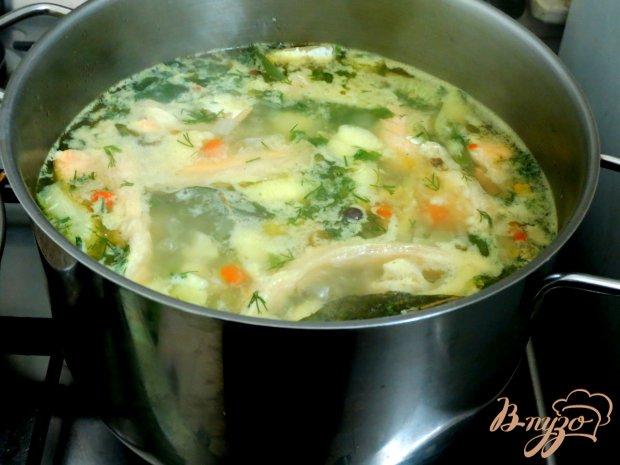 Суп овощной с брюшками сёмги.