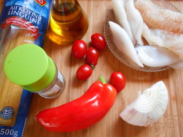 Рецепт Спагетти с рыбой и кальмарами
