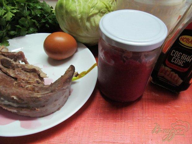 Рецепт Салат из свиного языка и капусты