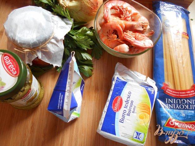 Рецепт Спагетти с креветками и соусом песто