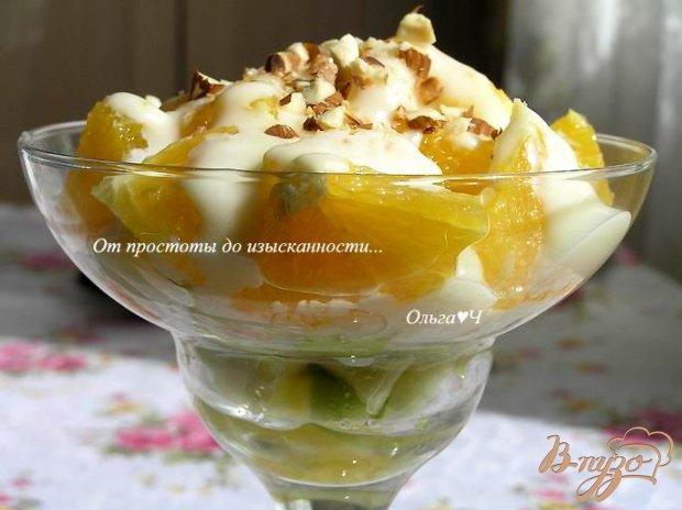 Салат из апельсинов с яблоком и ванильным кремом