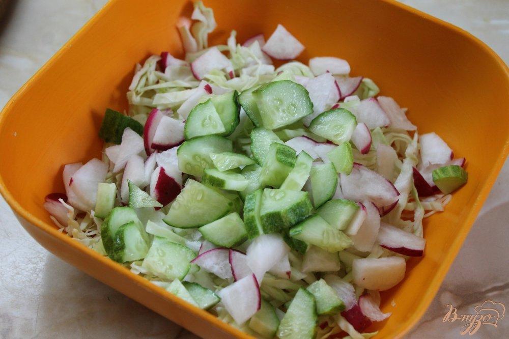 Фото приготовление рецепта: Салат с молодой капусты с огурцом и редисом шаг №3