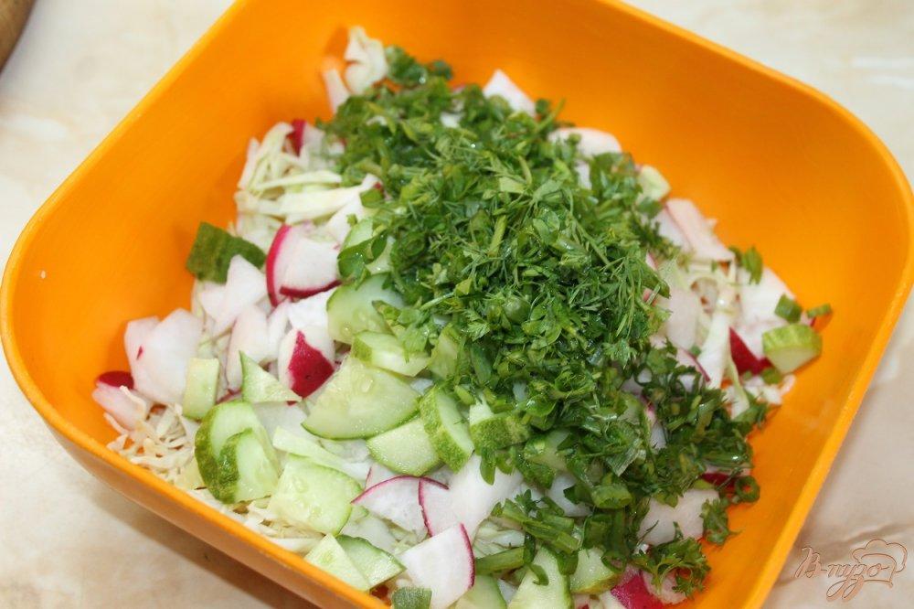 Фото приготовление рецепта: Салат с молодой капусты с огурцом и редисом шаг №4