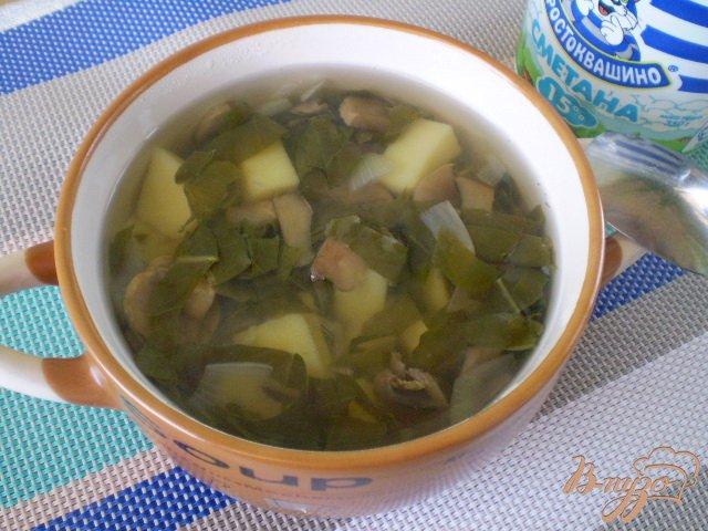 Фото приготовление рецепта: Грибной суп со щавелем шаг №7