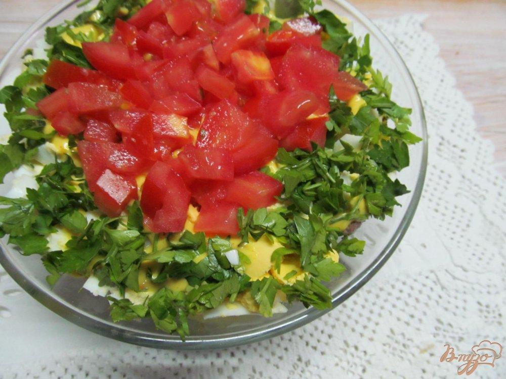 Фото приготовление рецепта: Салат из сердца помидора с французским соусом шаг №8