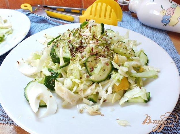 фото рецепта: Салат яичный с семенами льна и овощами