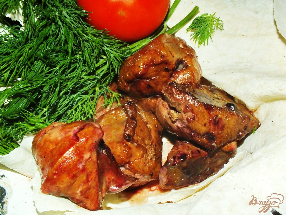 Фото приготовление рецепта: Шашлык из говяжьей печенки шаг №7