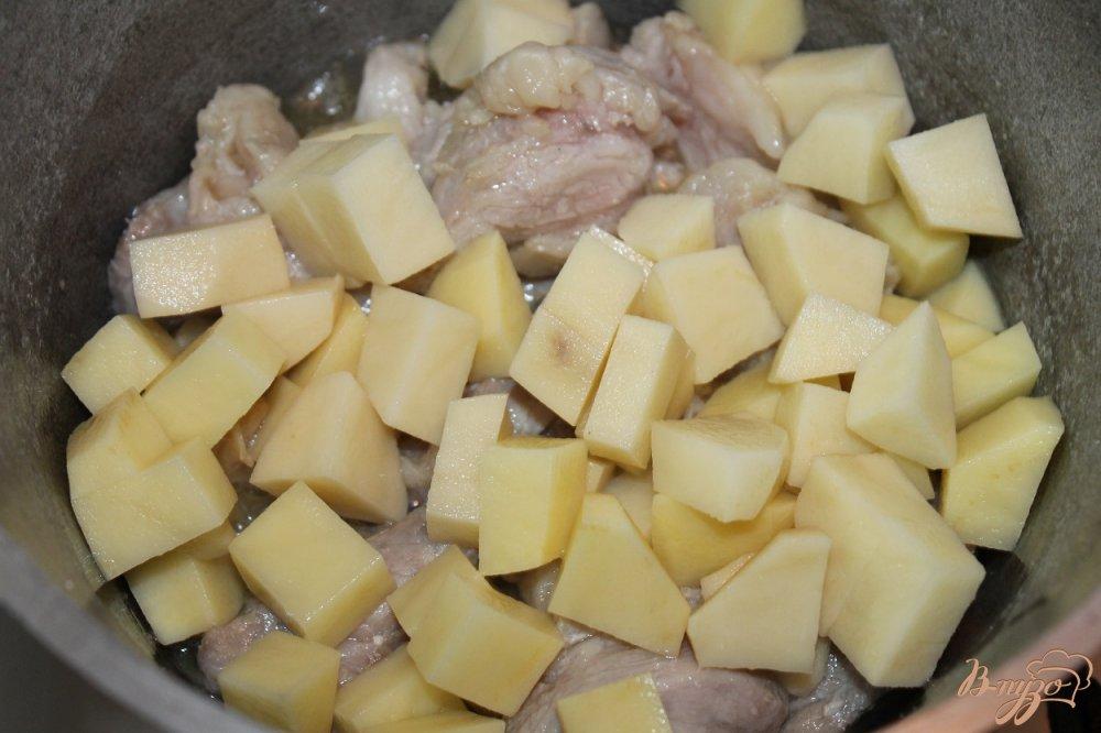 Фото приготовление рецепта: Шурпа по - домашнему со свининой и аджикой шаг №3