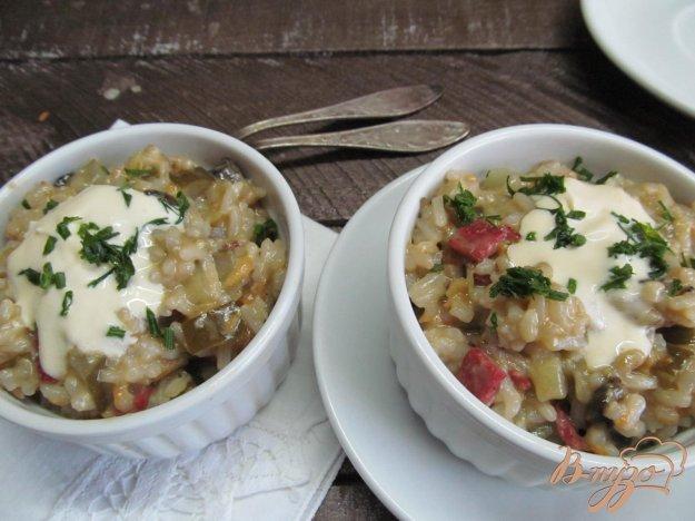 фото рецепта: Рисовая каша с грибами и колбасой