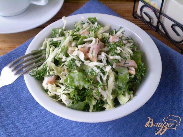 фото рецепта: Капустный салат с мясными сосисками
