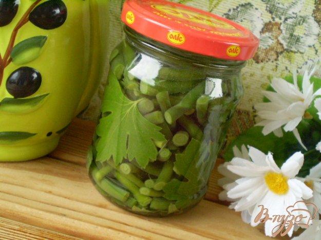 фото рецепта: Стрелки маринованные с мятой и листьями вишни