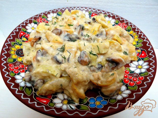 фото рецепта: Кабачки тушёные со сметаной