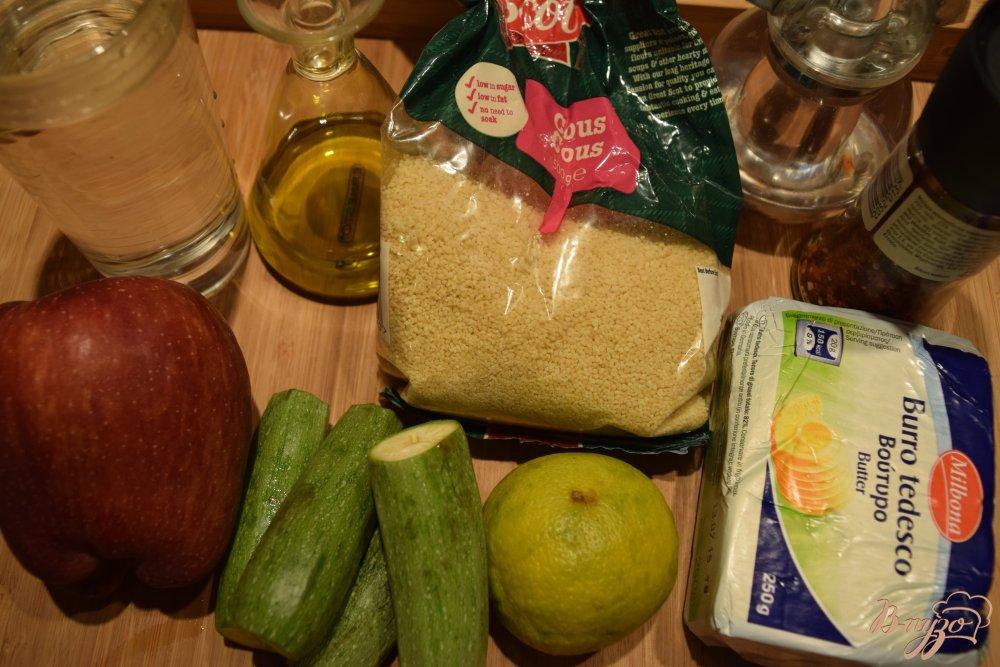 Рецепт Кус -кус с кабачками, беконом и яблоками
