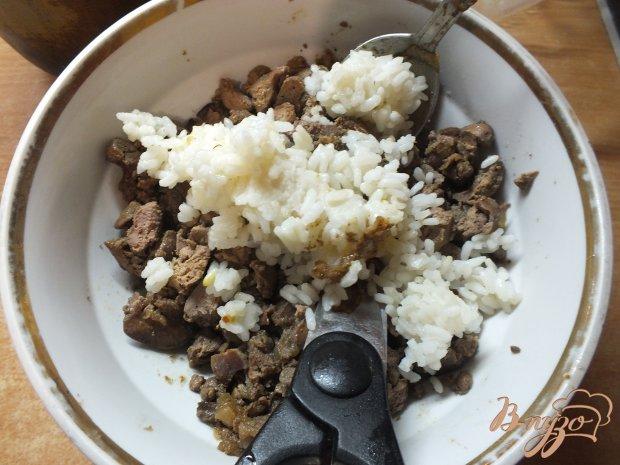 Блинчики с куриной печенкой и рисом