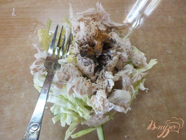 Салат из огурца мясной