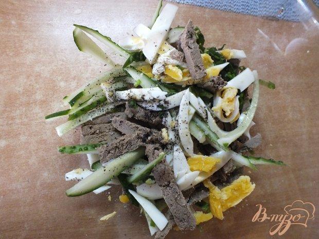 Салат с отварной печенью